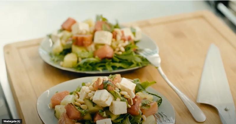 wassermelonensalat mit Minze und Feta