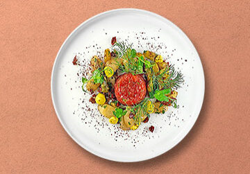 Gegrillter Spargelsalat mit Lachstatar und Spargel-Zitrusfrüchte Crème fraîche