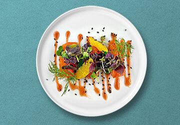 Teller_Mit-Orange-und-Ahornsirup-hausgebeizte-Fjord-Forelle-mit-suess-saurem-Wasabi-Rettich-und-Kressesalat-auf-Blutorangensosse