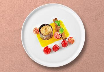 Nougat Cannelloni mit Lavendel Himbeeren, Borkenschokolade und Himbeer Popcorn