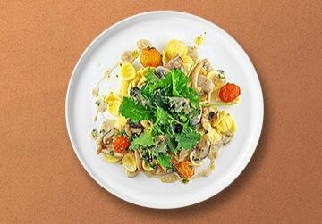 Orechiette in Waldpilz-Rahmsauce, geschmorten Kirschtomaten und Kale Salat