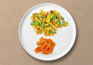 Penne Rigate mit Rosenkohl, getrockneten Tomaten und Cashewkernen & Salat von Süß-Sauren Karotten