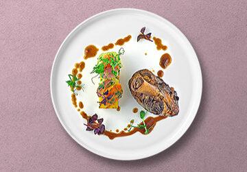 Geschmorte Lammstelze mit Polenta und Wurzelgemüse